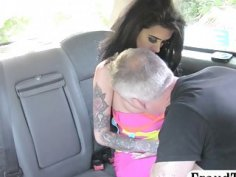 Huge juggs tattooed woman nailed hard by nasty driver