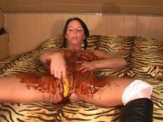 Big Tits, Choco and Banana Masturbation