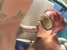 Blindfolded slut Katja Kassin desires to be fucked doggy near the pool