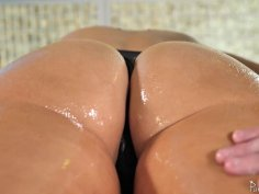 Busty MILF got her cunt oiled up before giving head