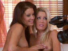 Slim porn stars Sophie Moone & Lara Craft please their holes on camera