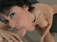Scorching brunette hottie Eva Karera blows prick on POV video
