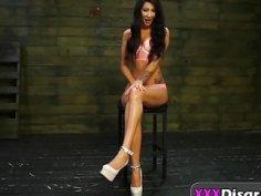 Submissive babe Esmi Lee takes hard on BDSM casting