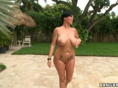 Stunning BBW cougar Lachasse fucks horny stud over the pool
