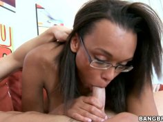 Black cougar Sandy blows white guy and licks off cum off her glasses