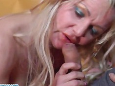 Busty MILF does handjob, titjob and blowjob