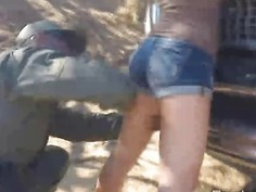 Sweet brunette teen got fucked by horny border officer