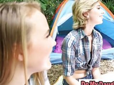 Alyssa and Haley banged by step dads on camping