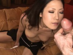 Brunette asian MILF gives blowjob and fucks missionary
